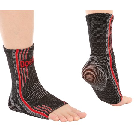 Doc Miller Premium Ankle Brace Compression Support Sleeve Socks for Swollen Foot Plantar Fasciitis Achilles Tendonitis, Use as Injury Support Recovery Eases Pain Swelling 1 PAIR RED