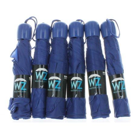 WZ Lot of 6 Mini Blue Weather Zone Folding Umbrellas Collapsing Travel Rain Cover (Umbrella Plastic Cover)