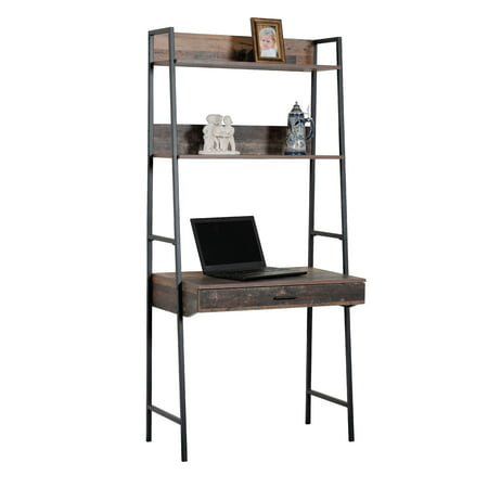 OS Home and Office Furniture Model 41106 Ladder Style Desk with Drawer and Two Shelves with Metal Uprights