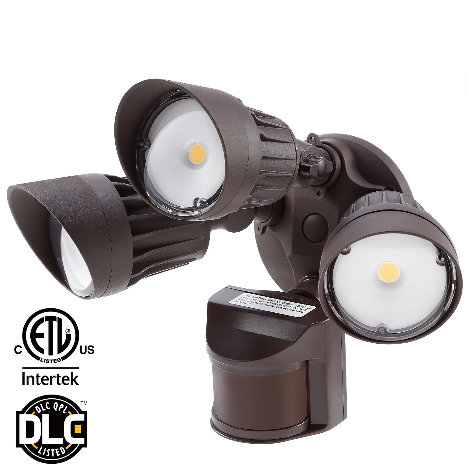 LEONLITE 30W 3-Head Motion Activated LED Outdoor Security Light, LED Flood Light for Entryways, Patios, Decks, Stairs, 3 Work Modes, 5000K Daylight, Bronze