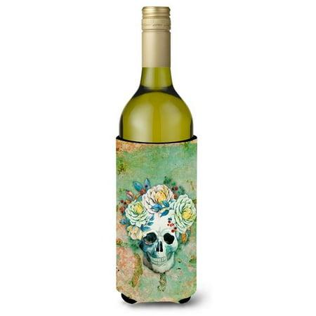 Carolines Treasures BB5124LITERK Jour du cr-ne mort avec fleurs Bouteille de vin Isolant Beverge Hugger - image 1 de 1