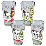 Set of 4 Peanuts Snoopy & Woodstock Holiday Peace Love Joy Hope Pint Glasses by ICUP