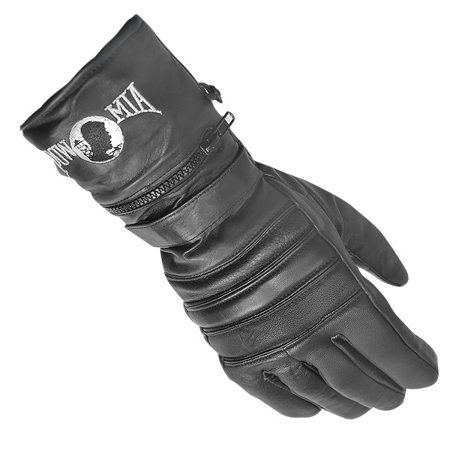 Xelement XG8220 Mens Black Insulated Leather Motorcycle Gauntlet Gloves - Gauntlet Gloves