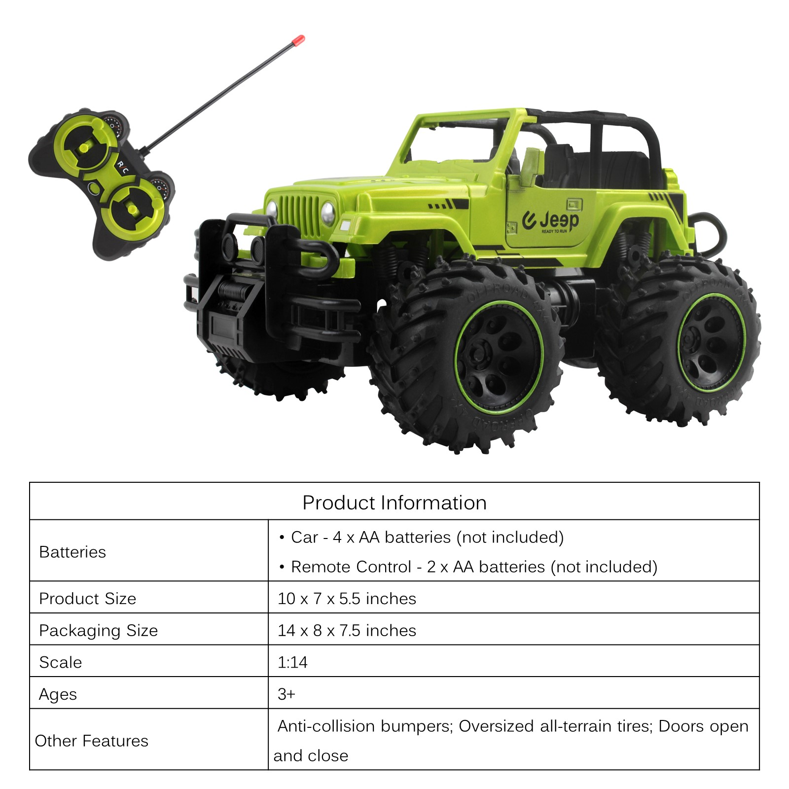 """RC Jeep Truck 10/"""" With Off-Road Tires And Opening Doors SUV Remote Control TL-60"""