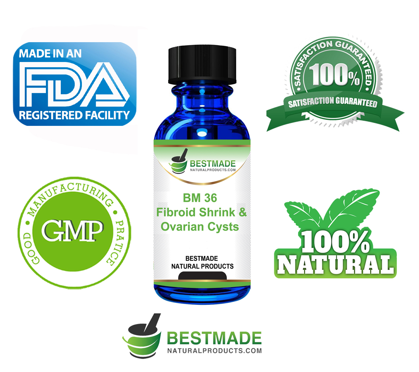 Fibroid shrink & Ovarian Cysts Natural Remedy (BM36) by BestMade -  Naturally Potent Remedy Shrinks Fibroid & Cysts - Relieves Painful Frequent