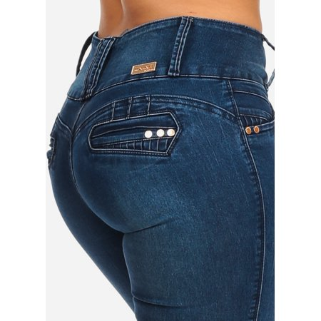 Womens Juniors Mid Rise PUSH UP Three Button Closure Med Wash Levanta Cola Butt Lifting Stretchy Skinny Jeans -