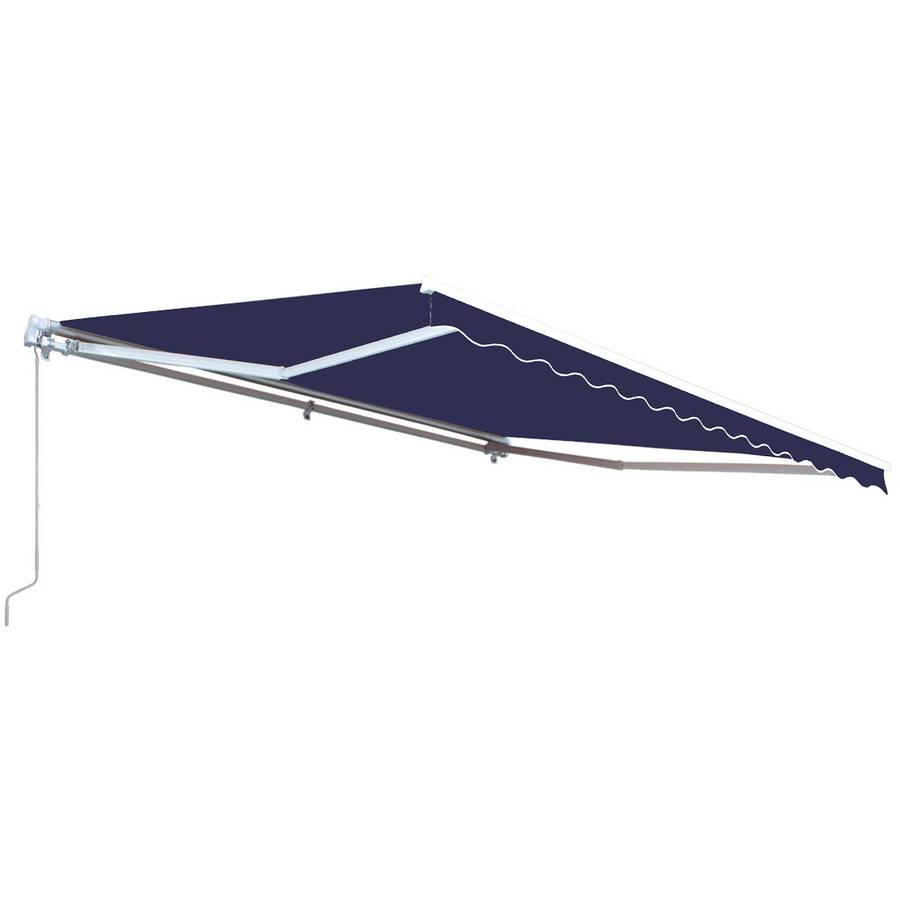 ALEKO Retractable 12' x 10' Patio Awning (3.5m x 3m), Solid Blue