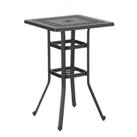 """MF Studio Patio Bar Table with Umbrella Hole, Outdoor Modern Cast Aluminum Outdoor Square Bistro Table, 27.5"""" L x 27.5"""" W x 42.0"""" H"""