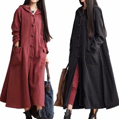 Pure Cotton&Linen Plus Size Long Sleeve Dress Coat (Dress Coat)