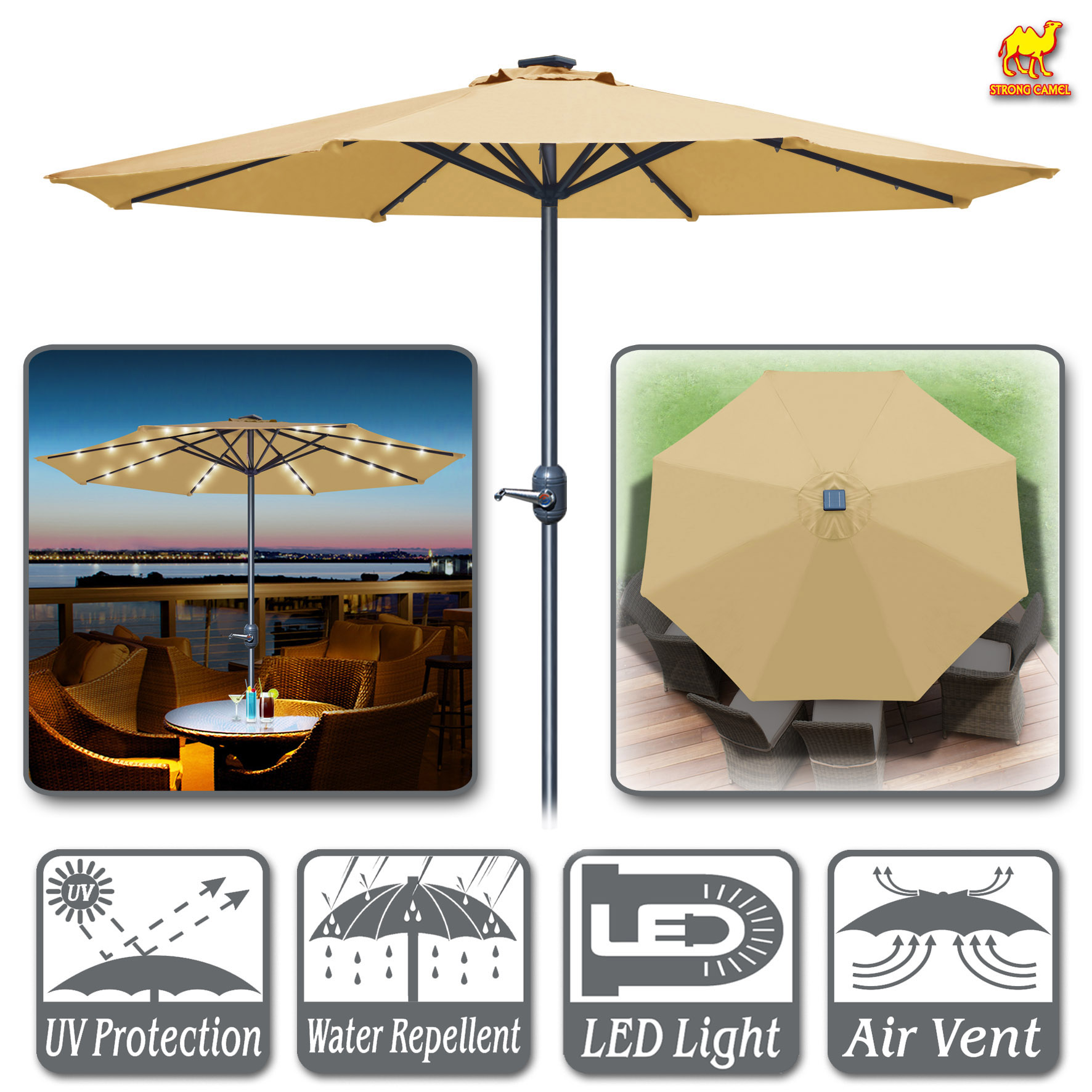 Strong Camel 9' Aluminum Solar Powered Patio Umbrella 24 LED Light Parasol Sunshade with Crank (Beige)