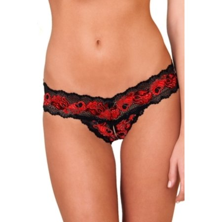 - Red Crotchless Lace V-Thong Rene Rofe 1037 Red