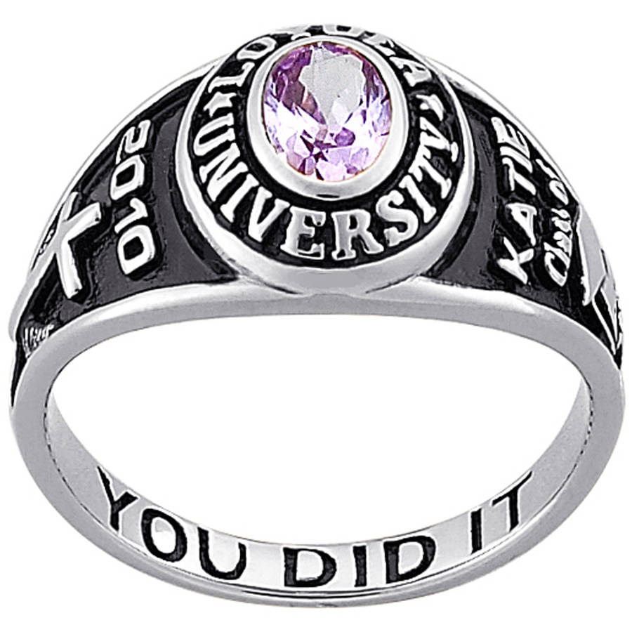 Personalized Girl's Classic Class Ring - Sterling Silver Petite Oval Birthstone