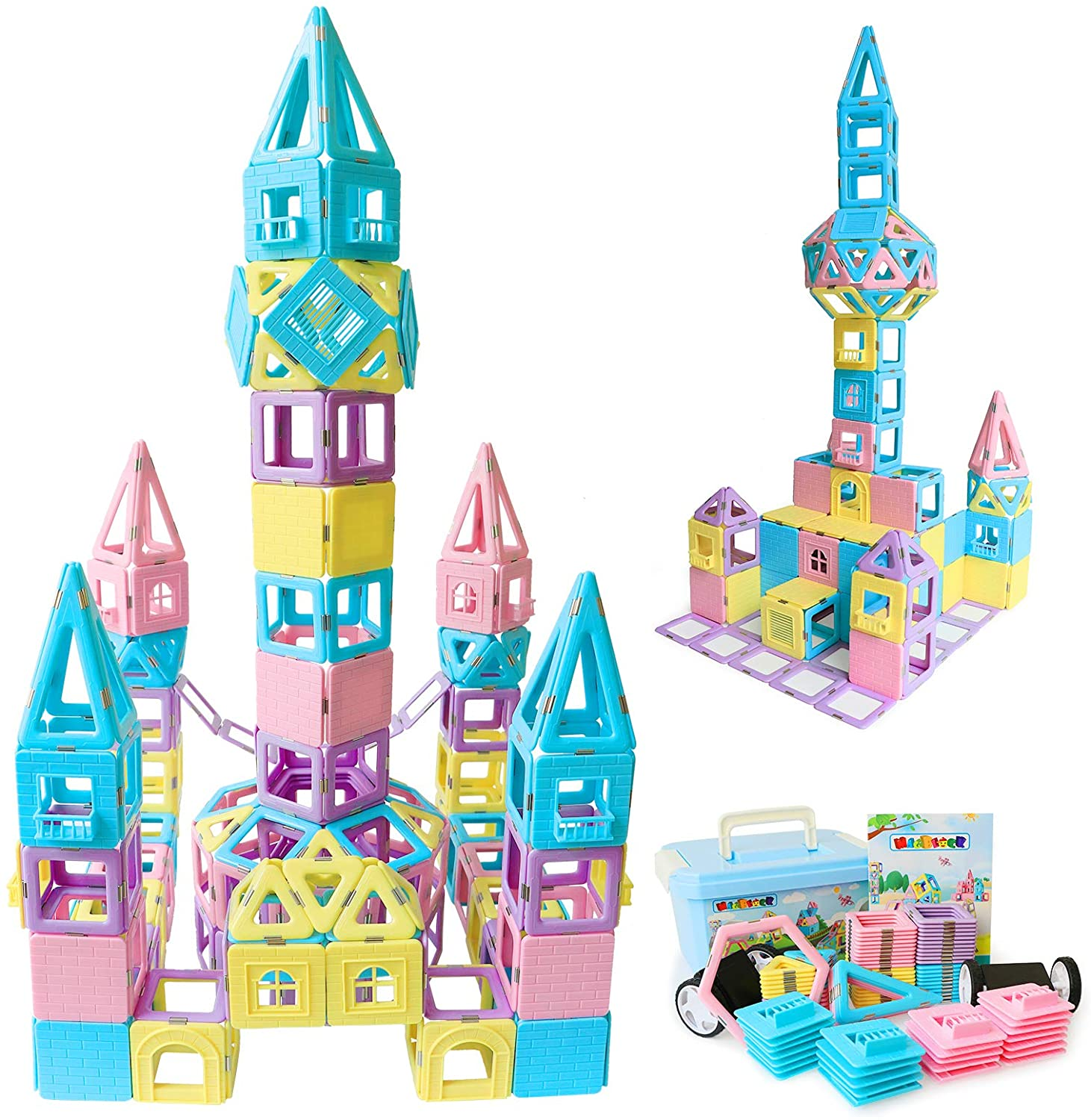 HLAOLA Magnetic Blocks Upgrade Magnetic Building Blocks Magnetic Building Tiles Set for Kids Magnetic Educational Stacking Blocks Toys for 3 4 5 6 7 Years Old Boys Girls Expansion package -42 pcs