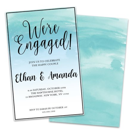 Personalized Blue Green Watercolor Engagement Party Invitations](Halloween Engagement Party Invitations)