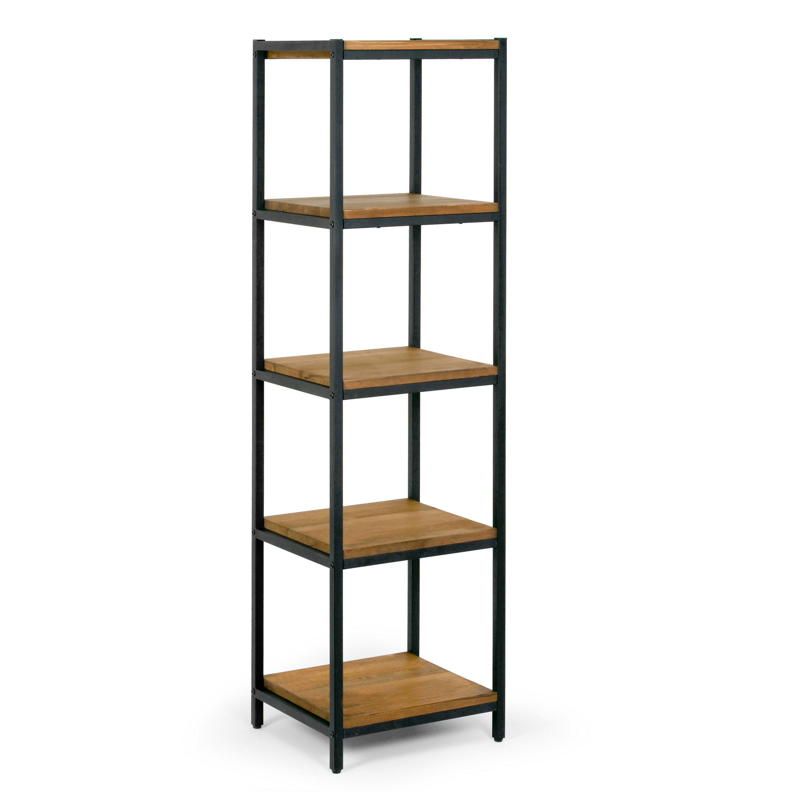 "Ailis 57"" Brown Pine Wood Shelf Etagere Bookcase Media Center with Metal Frame by Glamour Home"
