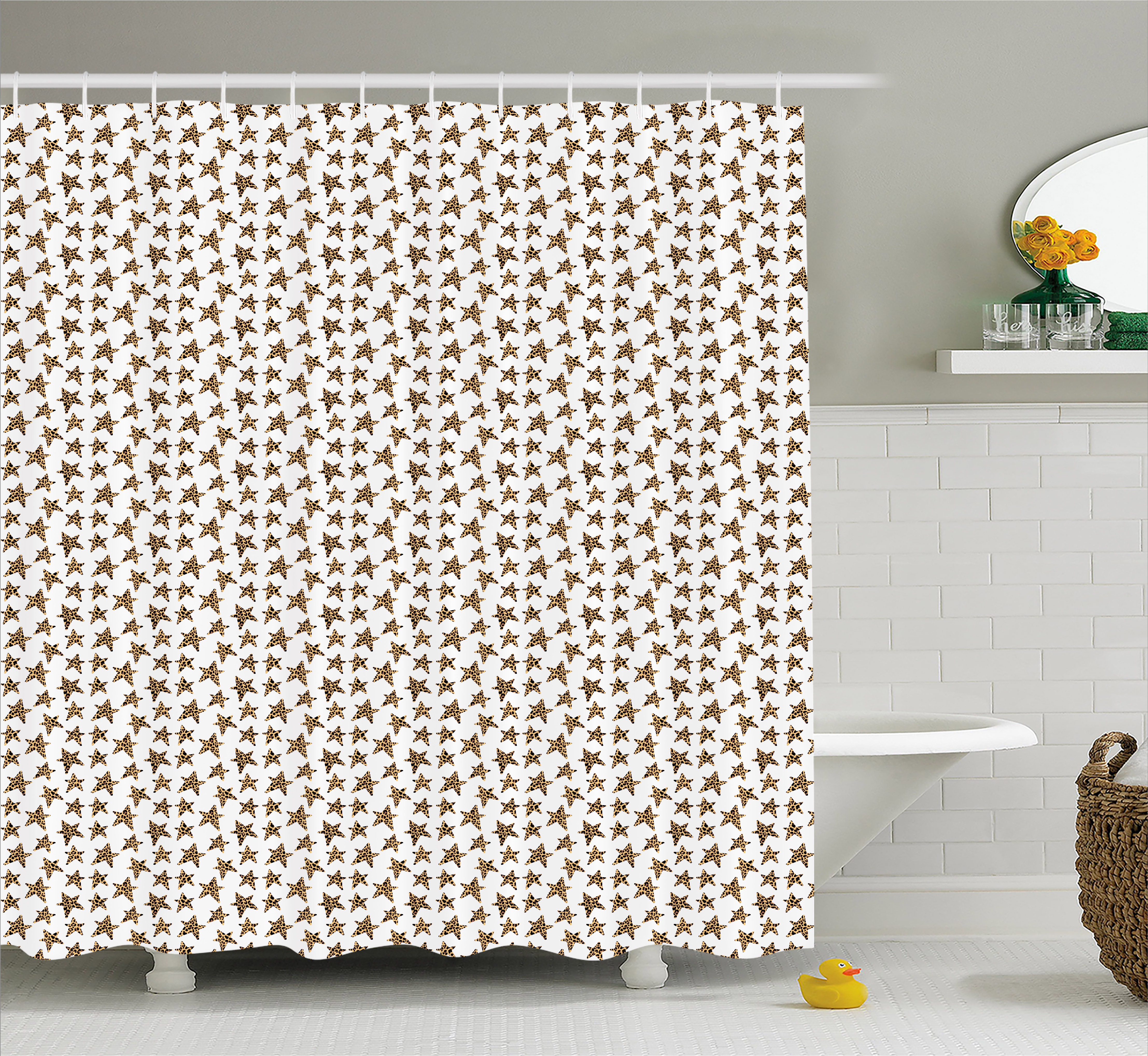 Star Shower Curtain Skin Of Leopard Pattern Punk Rock Themed Illustration Abstract Animal Design Fabric Bathroom Set With Hooks 69W X 70L Inches