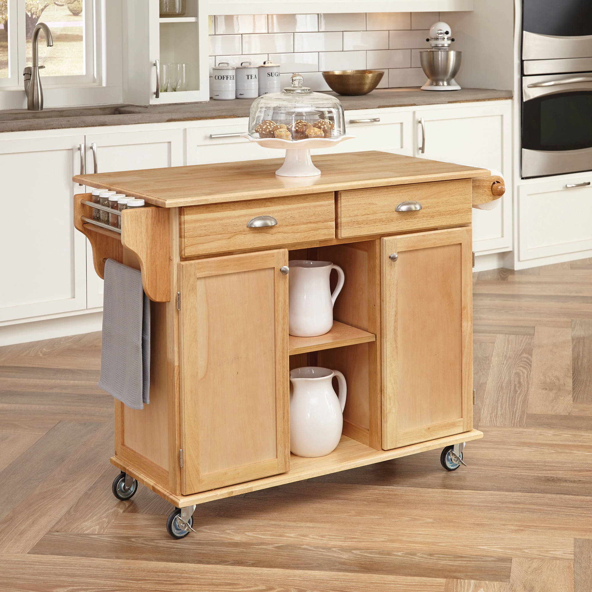 Home Styles Natural Napa Kitchen Cart Walmart