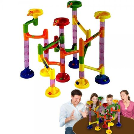 dazzling toys marble run race coaster long lasting 58 piece set with 43 building blocks plus 15 race marbles improving your child's motor skills and brain (Best Marble Run Game)