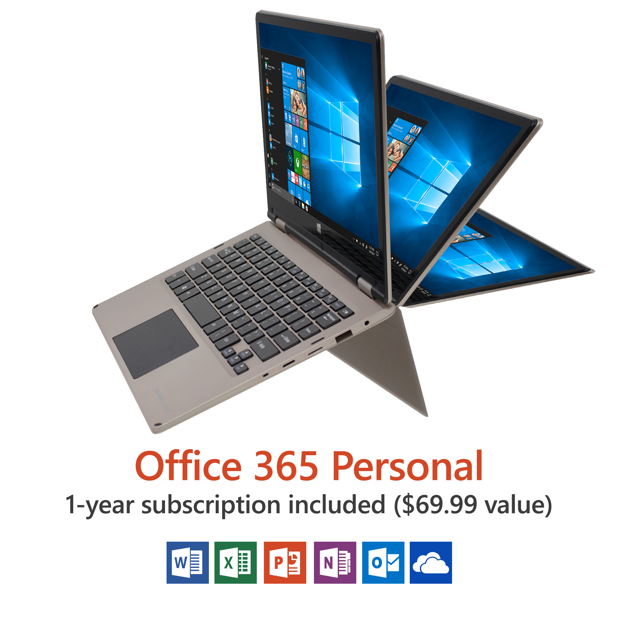 "11.6"" Convertible Touchscreen Laptop, Windows 10 Home, Office 365 Personal 1-Year Subscription Included... by Direkt-Tek"
