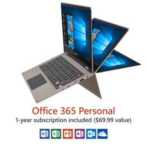 "11.6"" Convertible Touchscreen Laptop, Windows 10 Home, Office 365 Personal 1-Year Subscription Included ($69.99 Value), Intel Processor, 32GB storage, Front camera with 8 hour battery"