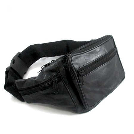 fba39e626191 ATB - Black Leather Fanny Pack Belt Waist Pouch Hip Travel Purse Large Mens  Womens New - Walmart.com