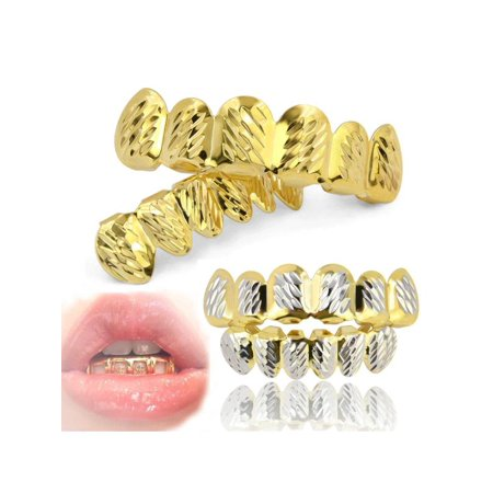 Grillz Gold Teeth,Custom Gold Sliver Plated Hip Hop Teeth Grillz Mouth Caps  Top Bottom Grill Set