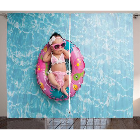 Baby Curtains 2 Panels Set, Nine Days old Girl Sleeping on Tiny Inflatable Ring Crocheted Bikini Sunglasses, Window Drapes for Living Room Bedroom, 108W X 108L Inches, Tan Multicolor, by Ambesonne - Tiny Bikinies