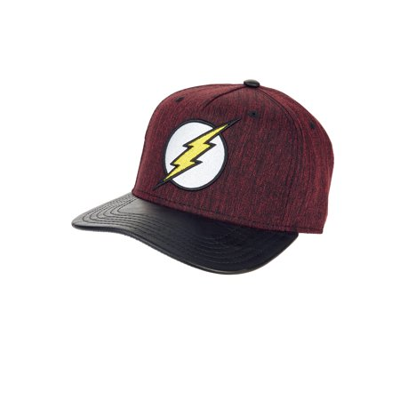 Contrast Bill Cap (Burgundy Heather Flash Logo Snapback Cap With Contrasting Faux Leather Bill )