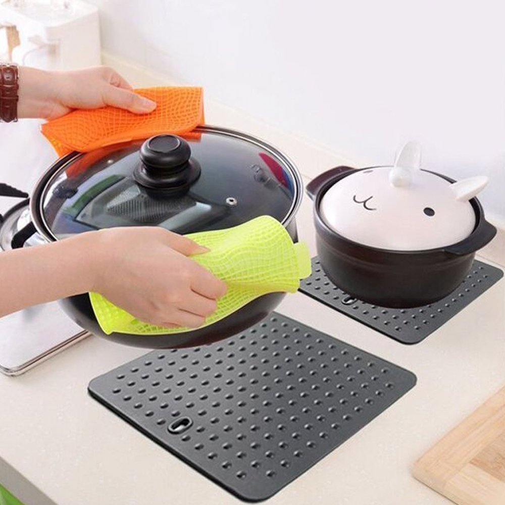 Silicone Pot Holders: IClover Non-Toxic Silicone Heat Resistant Mat Hot Pot