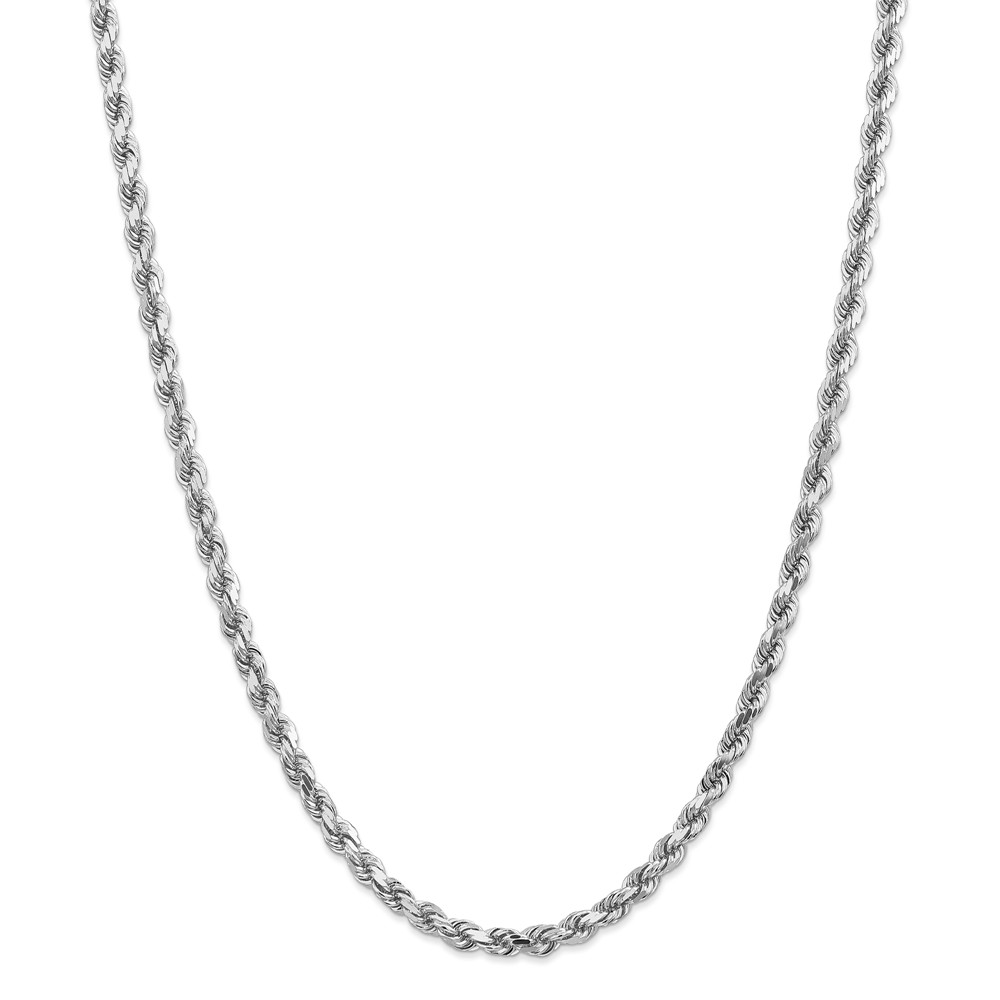 "14K White Gold 5mm Diamond-Cut Rope Necklace Chain -30"" (30in x 5mm) by"