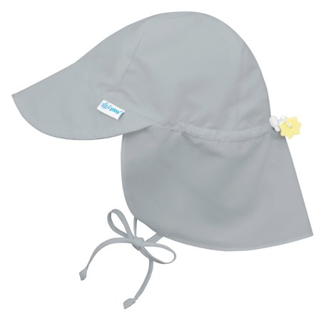 Iplay Flap Sun Hat for Toddler Boys Toddler Girls Unisex Gender Neutral Sun Protection Large Billed Baby Hat- Solid Grey; Gray- 2-4 Years Adjustable Fit Outdoor Hat With Chin Strap and Neck Flap Swim