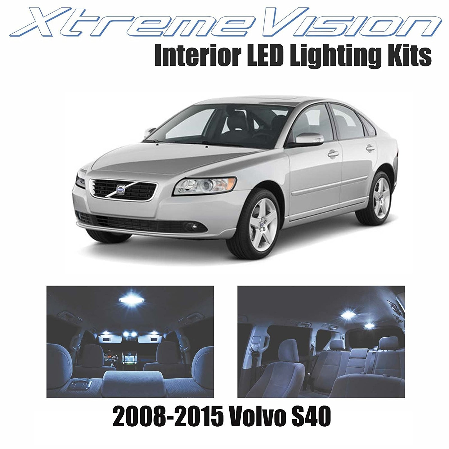 XtremeVision LED for Volvo S40 2008-2015 (8 Pieces) Cool White Premium Interior LED Kit Package + Installation Tool