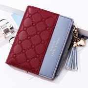Mini Fashion Wallets Female PU Leather Wallet Ladies Purse Zipper Clutch Bag Money Card Holder for Women Girl(Purple)