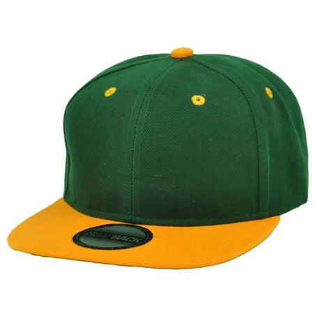 356297b3 Green Yellow Blank Plain Solid Snapback Flat Bill Hat Cap Headlines  Adjustable - Walmart.com