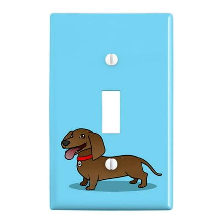Dachshund Wiener Dog Cartoon Plastic Wall Decor Toggle Light Switch Plate Cover