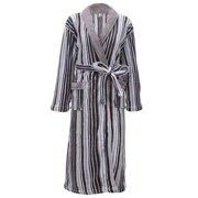 Mens Robe Plush Velvet Terry Shawl Collar Striped Kimono Bath Robe,Grey Stripe