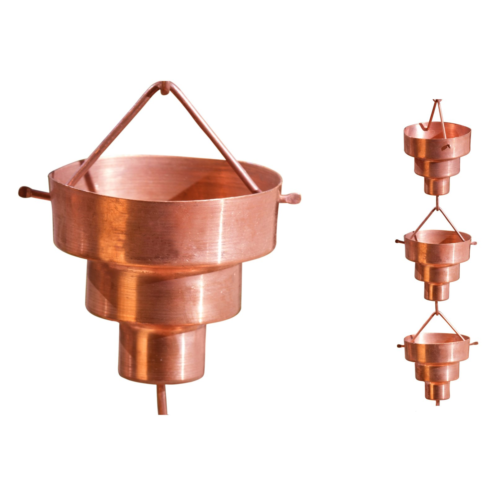 Monarch 8.5 ft. Copper Bamboo Cup Rain Chain