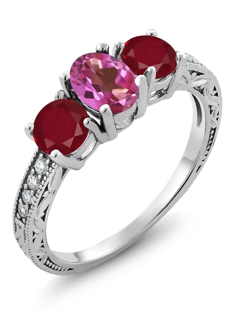 Gem Stone King 2.02 Ct Oval Pink Mystic Topaz Red Ruby 925 Sterling Silver Ring by