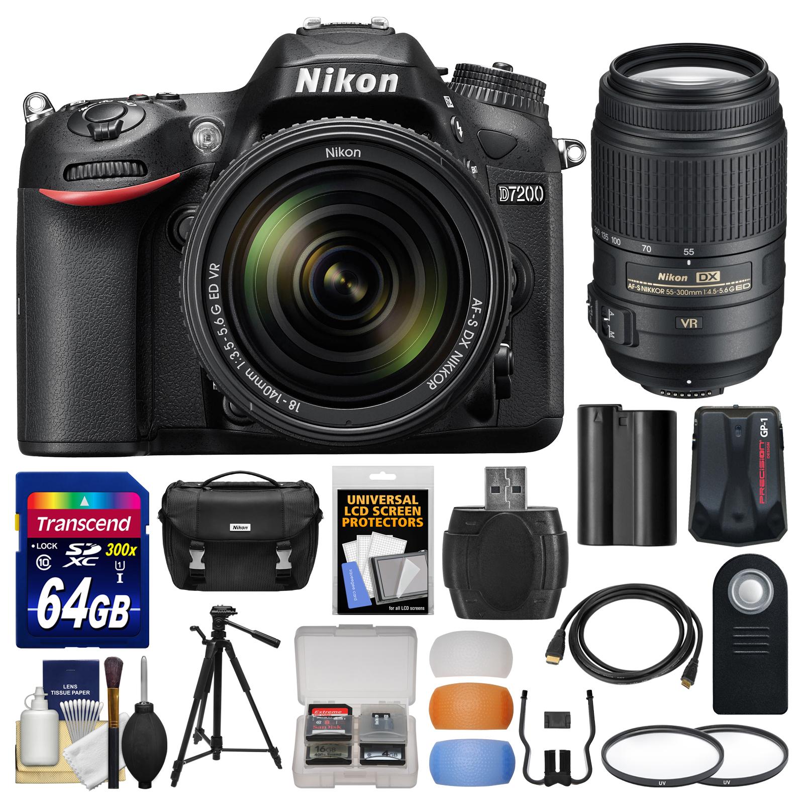 Nikon D7200 Wi-Fi Digital SLR Camera & 18-140mm VR DX & 55-300mm VR Lens with 64GB Card + Case + Battery +... by Nikon