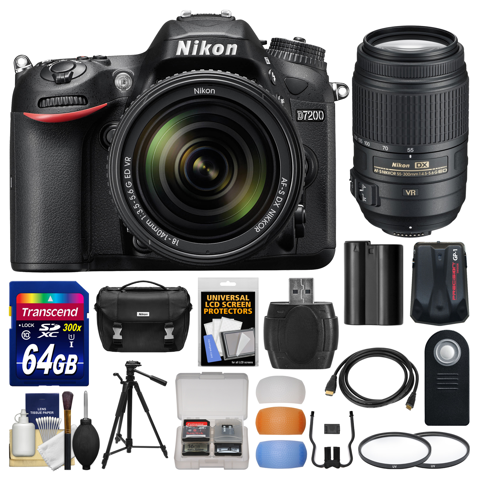 Nikon D7200 Wi-Fi Digital SLR Camera & 18-140mm VR DX & 55-300mm VR Lens with 64GB Card + Case + Battery + Tripod + Kit