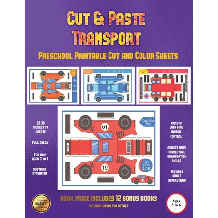 Preschool Printable Cut and Color Sheets: Preschool Printable Cut and Color Sheets (Cut and Paste Transport): 20 Full-Color Cut and Paste Kindergarten 3D Activity Sheets Designed to Develop Visuo-Perc - Halloween Color Sheets Activities