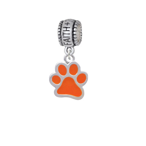 Medium Translucent Orange Paw - Faith Hope Love Charm Bead