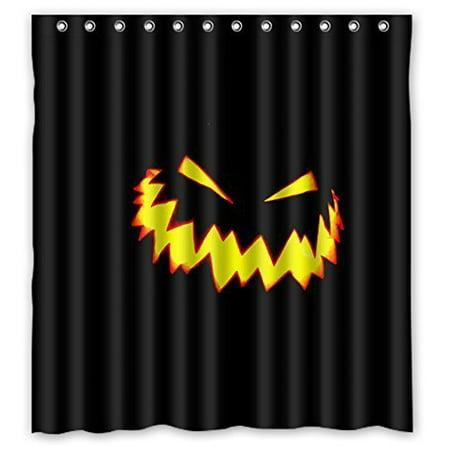 Ganma Black Creepy Pumpkin Face Shower Curtain Polyester Fabric Bathroom 66x72 Inches