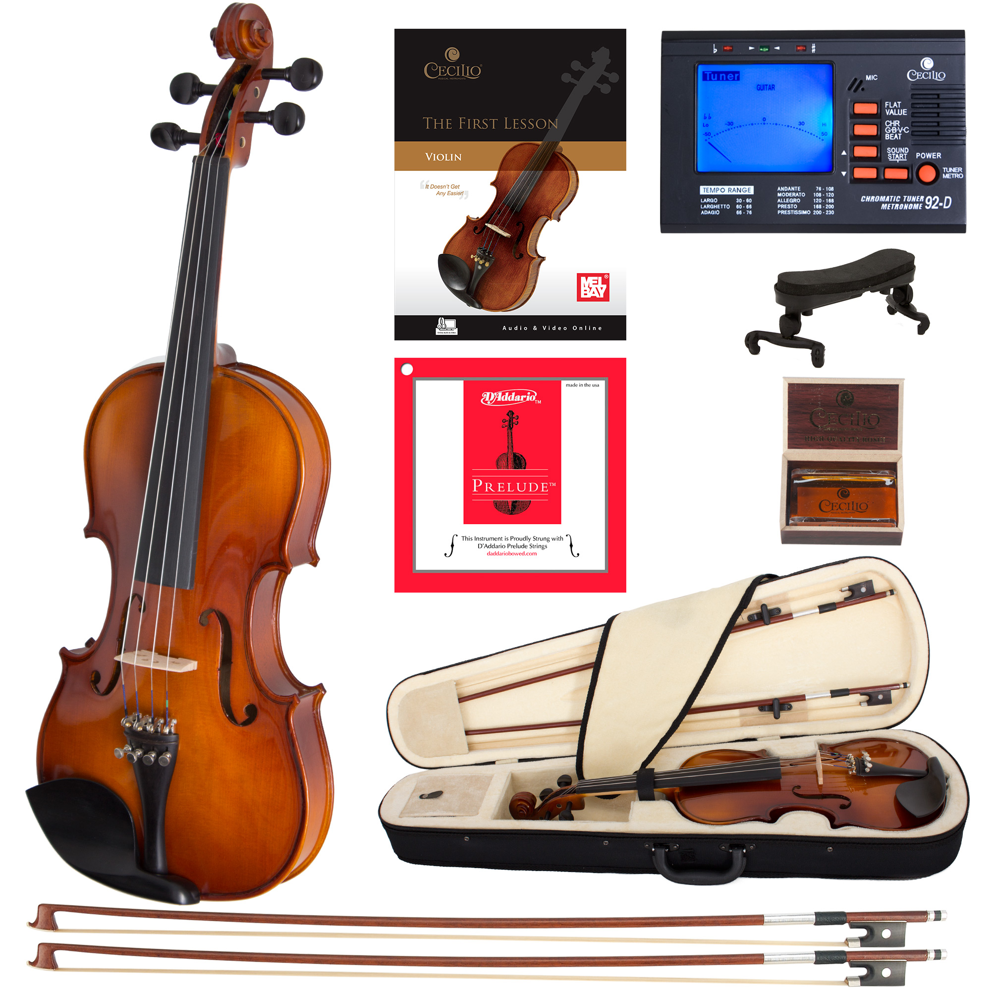 Cecilio Full Size 4/4 CVN-300 Ebony Fitted Solid Wood Violin w/D'Addario Prelude Strings, Lesson Book, Shoulder Rest and More