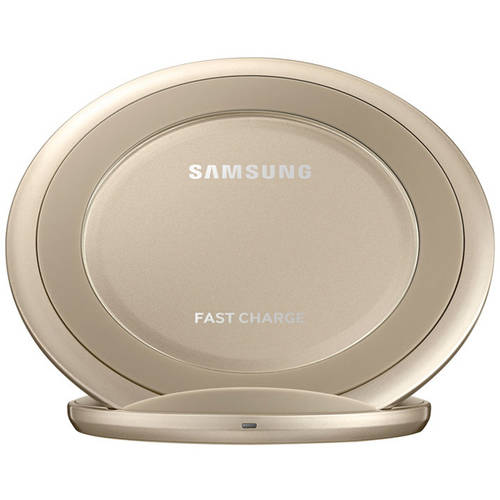 Samsung Qi Certified Fast Charge Wireless Charging Stand W/ AFC Wall Charger - Gold