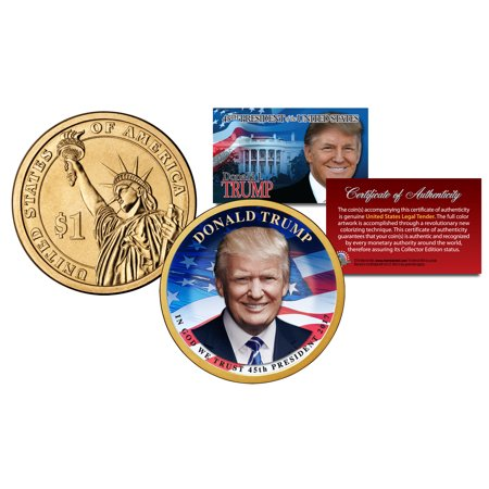 DONALD TRUMP 45th President Official Colorized 2016 Presidential Dollar $1