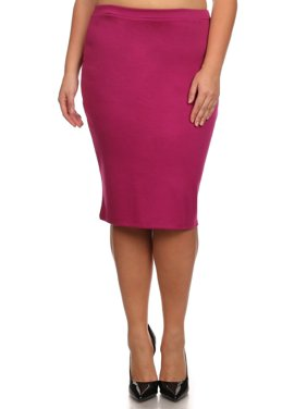 Plus size Women's Trendy Style Solid Pencil Skirt