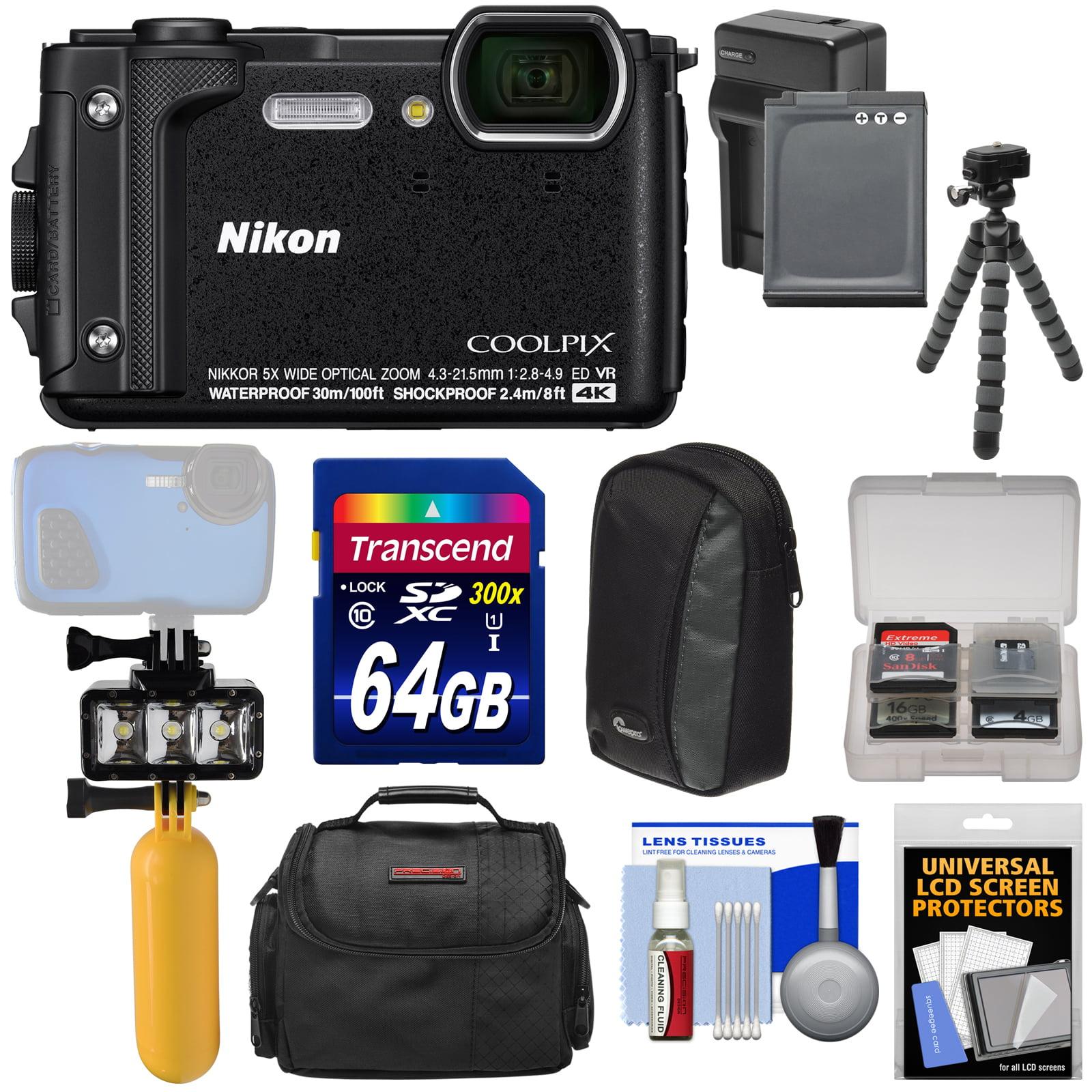 Nikon Coolpix W300 4K Wi-Fi Shock & Waterproof Digital Camera (Black) + 64GB Card + Battery & Charger + Diving LED Video Light + Buoy + Cases + Tripod Kit