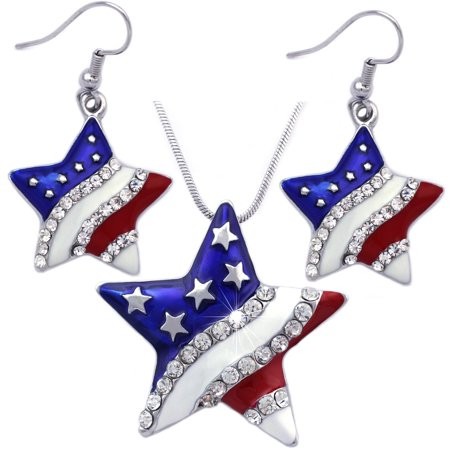 - cocojewelry 4th of July USA American Flag Star Pendant Necklace Dangle Earrings Set
