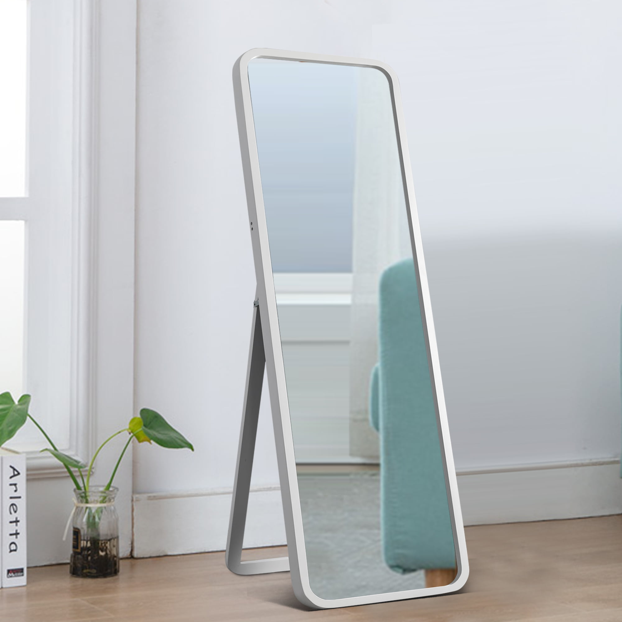 Neutype Full Length Mirror With Standing Holder Floor Mirror Large Wall Mounted Mirror Bedroom Mirror Dressing Mirror Wood Frame White 55 X 16 Walmart Com Walmart Com